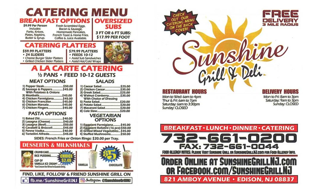 Sunshine Grill Catering 2019