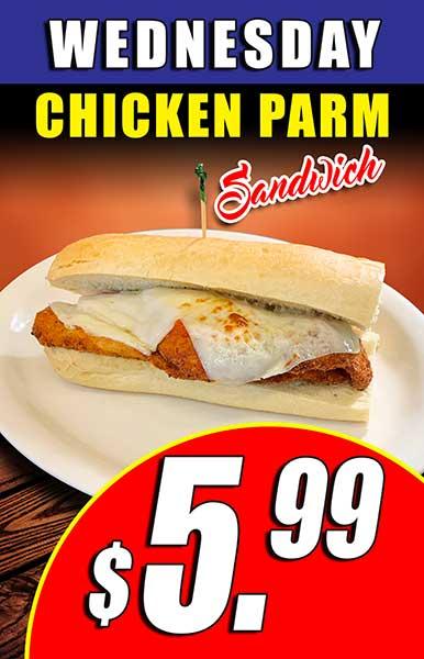 Wednesday Chicken Parm $5.99